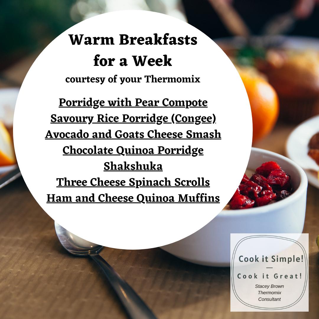 Breakfast recipes for a week